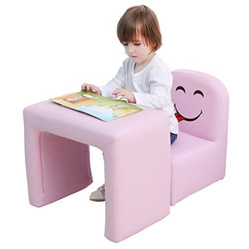 Emall Life Sillón para niños Multifuncional, Silla y Mesa para niños/Taburete con una Sonrisa Divertida para niños y niñas(Rosa)