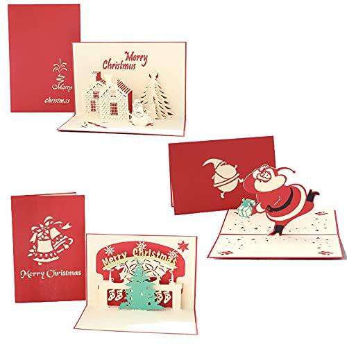 Jonica Tarjetas de Navidad 3D Pop Up con sobre, juego de tarjetas de Navidad con sobres, Papá Noel, árbol, renos,...