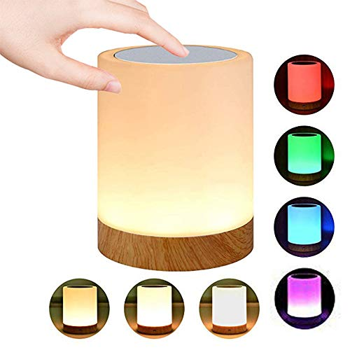 ROYFACC Night Light Touch Sensor Lamp Bedside Table Lamp for Kids Bedroom Rechargeable Dimmable Warm White Light + RGB Color Changing