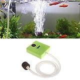 NRRN Bomba de oxígeno, mini bomba de aire ultra silenciosa para acuario de salida única de célula seca funciona con pilas dispositivo de bomba de oxígeno para tanque de peces