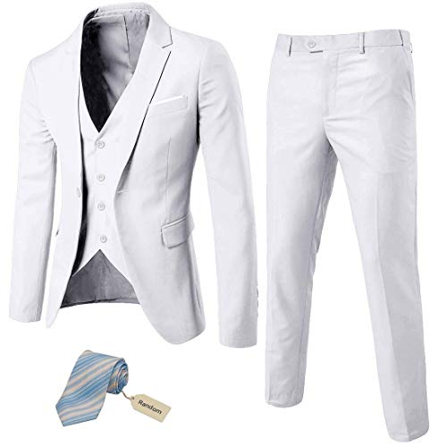 Calvin Klein Men's White Slim Fit Linen Suit, 36R