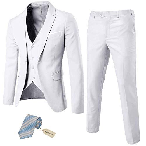 MrSure Men's 3 Piece Suit Blazer, Slim Fit Tux with One Button, Jacket Vest Pants & Tie Set for Party, Wedding and Business White