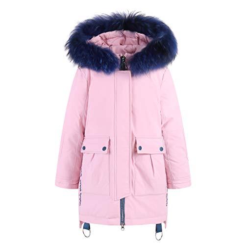 Livoral Kinder Winter MantelGesteppter Mantel des künstlichen mit Kapuze Daunenmantels des Kindermädchenjungenwinters(Rosa,160)