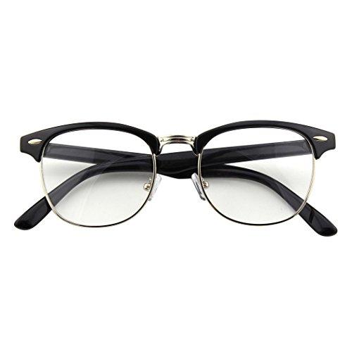 CGID CGID 50er Jahre Retro Nerd Brille Halbrahmen Hornbrille Stil Rockabilly Streberbrille,Glossy Schwarz