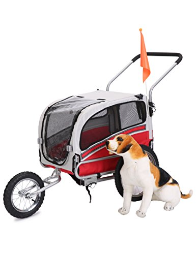 Leonpets Haustier Transportwagen/Anhänger für Jogger und Fahrrad (Rot) 20303
