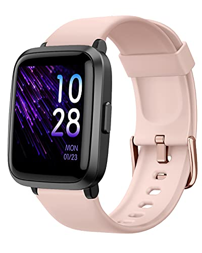 YAMAY Smart Watch, Watches for Men Women Fitness Tracker Blood Pressure Monitor Blood Oxygen Meter Heart Rate Monitor IP68 Waterproof, Smartwatch Compatible with iPhone Samsung Android Phones (Pink)