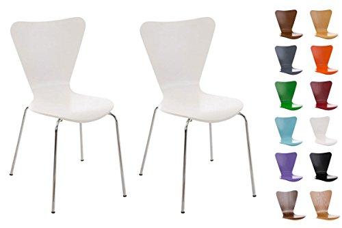 CLP 2X Konferenzstuhl Calisto mit Holzsitz und stabilem Metallgestell I 2X platzsparender Stuhl mit Einer Sitzhöhe von: 45 cm, Farbe:weiß