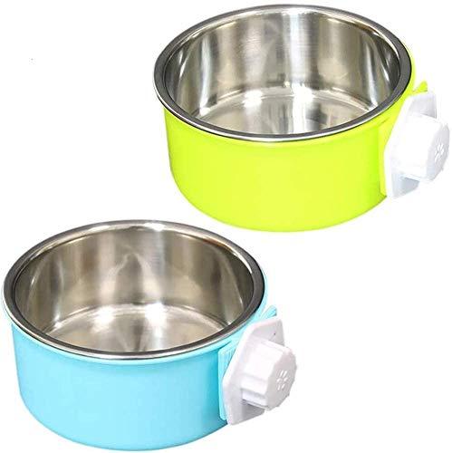 NALCY 2 Stück Fressnapf für Hund, Futternapf für Käfige Futter-Napf Katze Edelstahl Lebensmittel Wasser Schalen für Hunde Katzen mit Schraubbefestigung zum Einhängen 2 in 1
