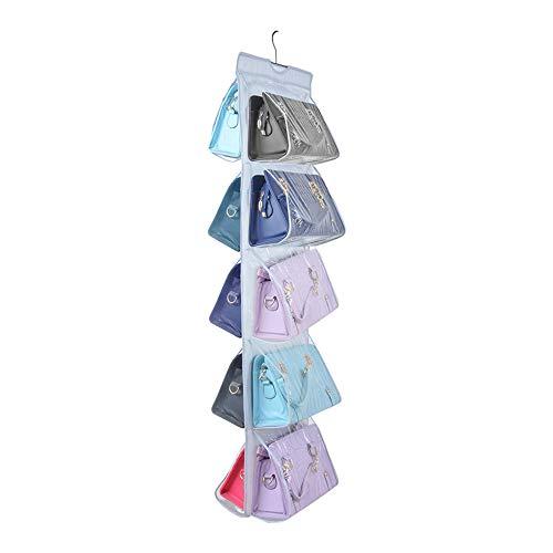 Zebricolo Speicher Handtasche Organiser Closet Kleiderschrank klar Geldbörse Toys Schuhe Tuch Cluth Clutch Taschen hängende Aufbewahrung für Wohnzimmer Schlafzimmer Schrank (Hellgrau)