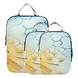 Organizadores de maletas, cubos de embalaje de fórmula de ciencia química, cubos de embalaje comprimibles expandibles comprimibles para equipaje de mano, viajes (juego de 3)