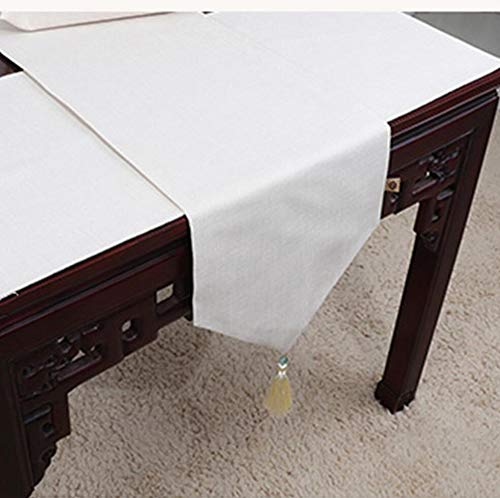 NUANXIN Tafelkleed, polyester katoenen dressoir met kwasten, ideale salontafel of keukentafel beddengoed decoratie, Wit, 33 * 150cm