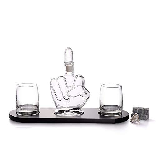 KPTKP Conjuntos de Whisky de Dedo Medio Creativo, decantador de Vidrio soplado a Mano de 1000 ml y Dos Copas de Vino de 330 ml, Regalo de los Hombres para Ginebra Ron Brandy Vodka