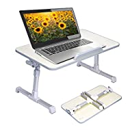 Neetto Height Adjustable Laptop Bed Table, Portable Lap Desk with Foldable Legs, Breakfast Tray for Eating, Notebook Computer Stand for Reading Writing on Bed Couch Sofa Floor - Honeydew