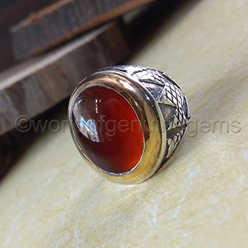 S02881 2.70 Gm Natural Red Onyx Gemstone Designer Ring Onyx Cabs Vintage Ring Solid Silver Handmade Unisex Ring