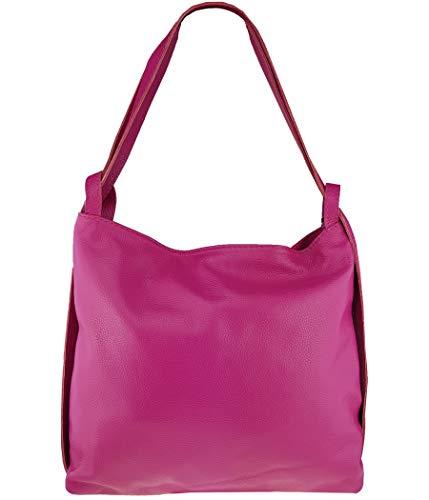 Freyday 2in1 Damen Handtasche Rucksack Designer Luxus Henkeltasche aus 100% Echtleder (Pink)