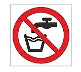 Anro Señal de Agua no Potable | Auto adherirse a los Signos de prohibición de PVC | 10 x 10 cm | Blanco