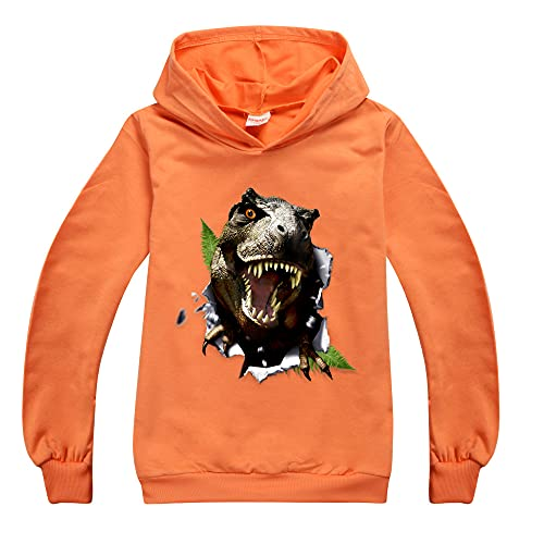 Jurassic Park Sudaderas con capucha para niños y niñas, unisex, de manga larga, camiseta de Jurassic Park para niños, naranja, 7-8 Años