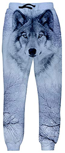 Belovecol Pantalones para Hombre Mujer Pantalón Casual 3D Print Wolf Sweatpants Sport Gym Fashion Joggers
