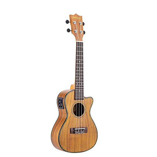 "Ukelele Concierto, ammoon 24"" Cutaway Guitar Ukulele Hawaii con el Regalo de LED EQ Koa Plywood Cowry Shell Brims OX Hueso Saddle 4 Cuerdas Instrumento"