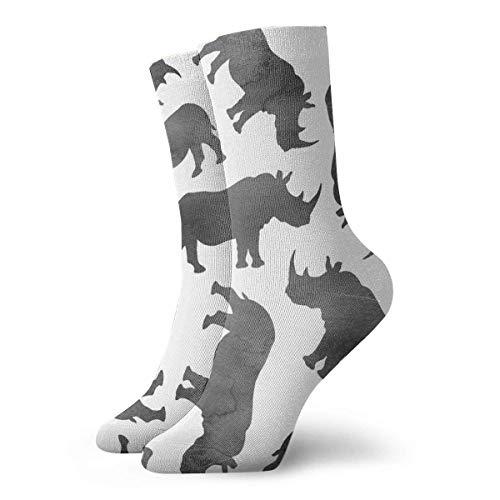QUEMIN Calcetines Calcetines deportivos transpirables con diseo de rinocerontes de acuarela exticos modernos para mujeres y hombres Calcetines deportivos estampados 30 cm (11,8 pulgadas)