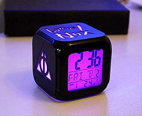 Desconocido Creativo Harry Potter 3D estéreo pequeño Reloj Despertador LED pequeño Reloj electrónico con luz Nocturna 8.8Cm Carcasa Negra A-Concha Negra B