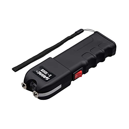 SABRE Stun Gun with Flashlight and Anti-Grab Bar Technology, Painful 1.250 µC Charge, 120 Lumens, Rechargeable Battery, Safety Switch, Includes Wrist Strap and Belt Holster, Black Stun Gun