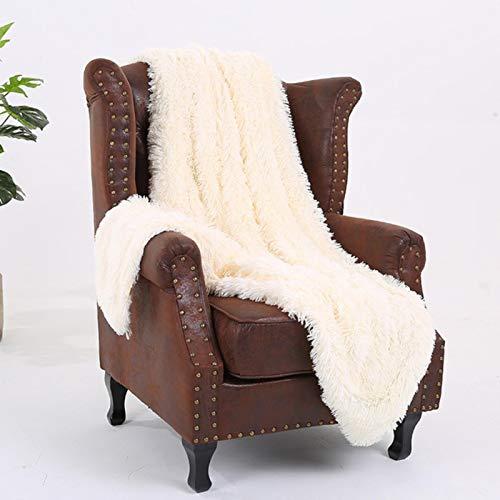 YUYANG Flauschiges Fellimitat mit flauschigem Überwurf, Decke, Bett, Sofa, Tagesdecke, lang, zottelig, weich, warm, milchig weiß, 130 x 160 cm