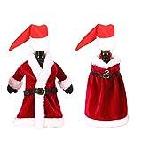 Maxure Botellas de vino para decoración de disfraces de Navidad: vestido, bata y mini gorro de Papá Noel para Navidad, Año Nuevo, adorno de fiesta en casa