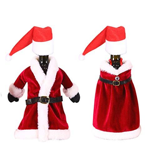 Maxure - Bottiglie di vino di Natale per la decorazione del costume: vestito, accappatoio e mini cappello di Babbo Natale per Natale, Capodanno, ornamento per feste in casa