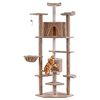 Tangkula Cat Tree Kitten Condo Multi-Level Activity Tower Pet Furniture with Scratch Post Pet Play House Kitty Activity Tree  80    Beige