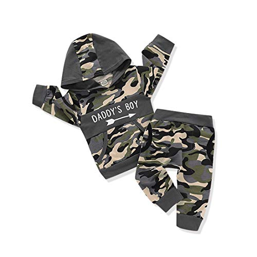 Verve Jelly Baby Boys Kleidung Daddy's Boy Camouflage Langarm Sweatshirt Tops Hosen Outfit Set