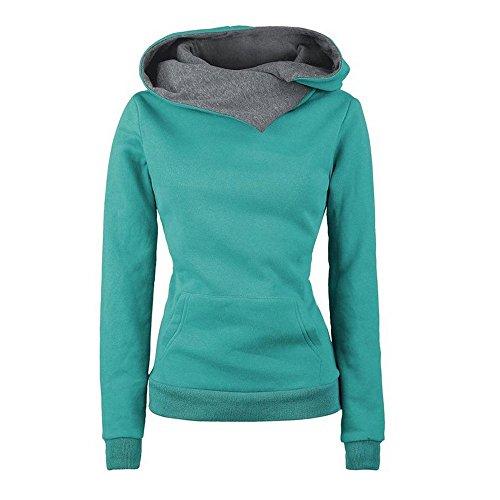 VECDY Damen Pullover,Räumungsverkauf- Herbst Frauen Langarm Hoodie Sweatshirt Pullover mit Kapuze Baumwollmantel Pullover Lässige hohe Kragen warmen Pullover Hoodie(Grün,38)