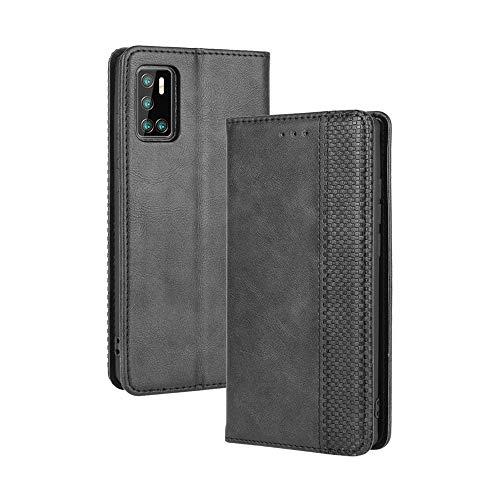 LAGUI Kompatible für Cubot P40 Hülle, Leder Flip Hülle Schutzhülle für Handy mit Kartenfach Stand & Magnet Funktion als Brieftasche, schwarz
