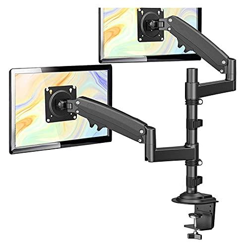 TabloKanvas Brazo de Montaje de Doble Monitor 22-34 Pulgadas, Soporte de Montaje de Escritorio de Monitor de Gas de Gas Ajustable con Abrazadera C (Color : Black)