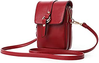 TOOGOO Red Wine Small Women Crossbody Bag Pu Leather Flap Phone Bags Lady Handbag Purse Shoulder Messenger Bag Clutch