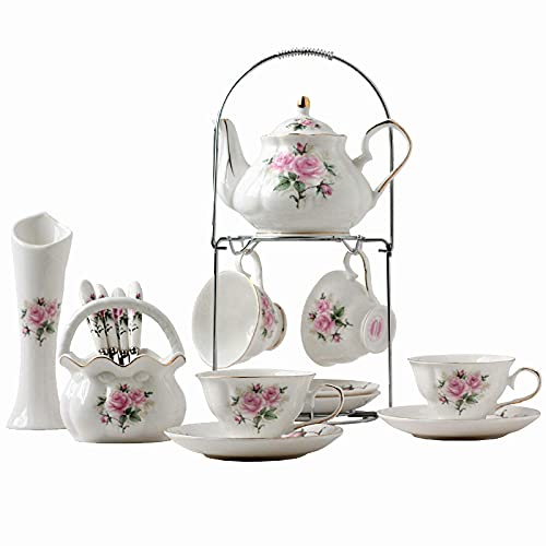N&G Daily Equipment Teapot Japanese Piece European Ceramic Service Coffee Set with Teapot 4 Coffee Cups and 4 Matching Spoons Flower Vase and Metal Holder Rose Printing Vintage Tea Set Tea Set