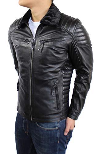 Lederjacke Dante Fur - Biker echt Lamm Leder in schwarz mit Fell (wahlweise Teddyfell oder schwarzes Fell) (M, schwarzes Fell)