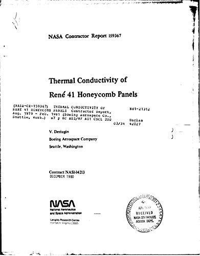 Thermal conductivity of Rene 41 honeycomb panels. [space transportation vehicles] (English Edition)