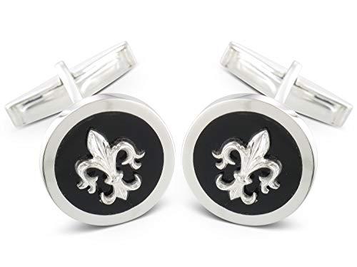 BROOKER Manschettenknöpfe Fleur de Lis Onyx Silber