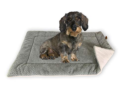 FLUFFINO® Hundedecke - Flauschig, Weich u. Waschbar (Größe S, 73 x 45 cm, grau)- Wildlederimitat für erhöhte Rutschfestigkeit - Für große u. kleine Hunde o. Katzen - Hundematten/Hundekissen