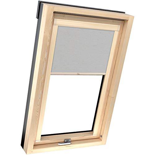 4dekor Estor opaco para ventana de tejado Velux F06, lino gris, perfiles de color pino y ventana de techo, estor térmico 100 % protección solar, carcasa de aluminio, estor de muelle