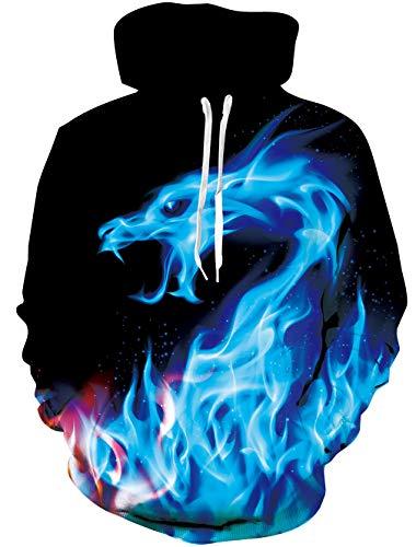 Loveternal 3D Hoodie Herren Feuerdrache Kapuzenpul Coole Pullover Langarm Fleece Fire Dragon Sweatshirt für Teen Jungen Mädchen M