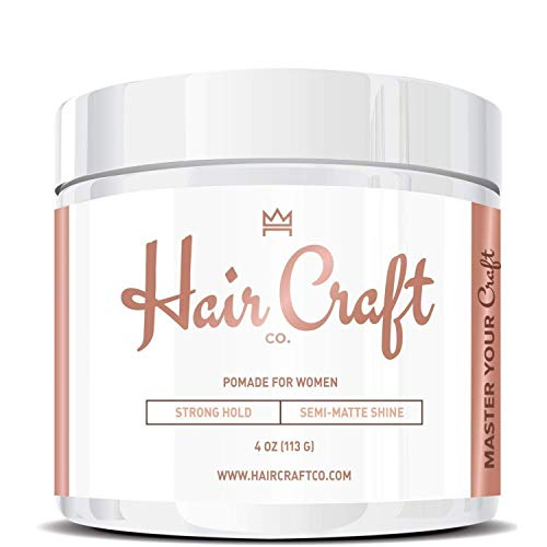 Hair Craft Co. Women's Pomade 4oz - Best Semi-Matte Finish Shine - Strong Hold Gel - Styling Product, Salon Approved - Water Based/Soluble - Defining Texture & Scented - Straight/Thick/Wavy Hair