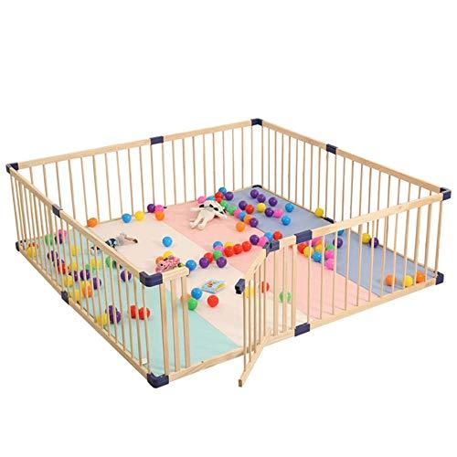 Giow Kinder Laufstall, Indoor Outdoor Baby Krabbeln Kleinkind Schutzzaun, Kindersicherheit Tragbarer Massivholz Spielstift, Play Center Zaun-110 * 160Cm