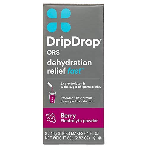 DripDrop ORS Electrolyte Hydration Powder Sticks, Berry, 10g Sticks, 8 Count