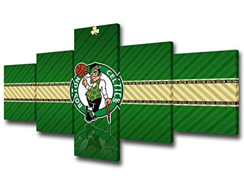 The Boston Celtics Paintings House Decorations Living Room Logo of NBA Champion Pictures HD Basketball Prints on Canvas 5 Piece Wall Art,Modern Artwork Framed and Stretched Ready to Hang - 50''Wx24''H
