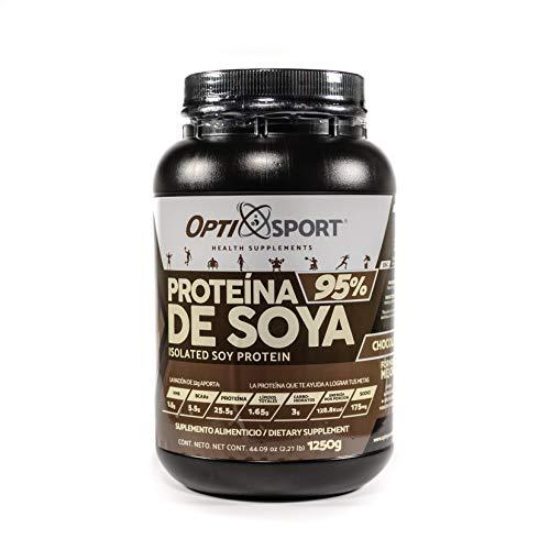 SOYA95 OptiSport Proteína de Soya +HMB + BCAAs, que NO Inflama, 25.5 g de proteína por servicio, 39 servicios | Sabor Chocolate | Bote con 1250 gr | Suplemento en Polvo | Proteína de Soya