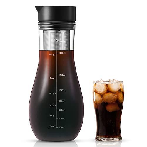 1,5L Kaffeebereiter für Cold Brew, Kaltbrüh-Kaffeemaschine mit luftdichtem Deckel Eiskaffee-Glaskrugbrauer Kaltbrühteekanne, trinkfertig Eiskaffeekrug Heißer Tee Fruchtgetränke-Brüheinheit Set