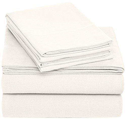 Amazon Brand – Pinzon Cotton Flannel Bed Sheet Set - King, Cream