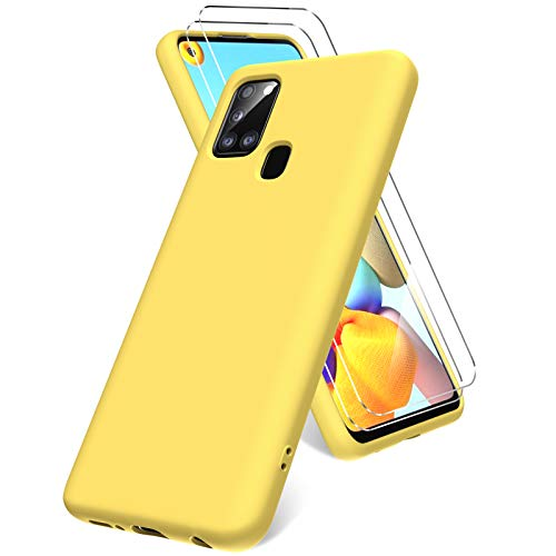 Oududianzi Hülle für Samsung Galaxy A21s, Panzerglas Bildschirmschutzfolie, weiche TPU Flüssigsilikonhülle, stoßfestem Gummi Silikongel Fall-Gelb